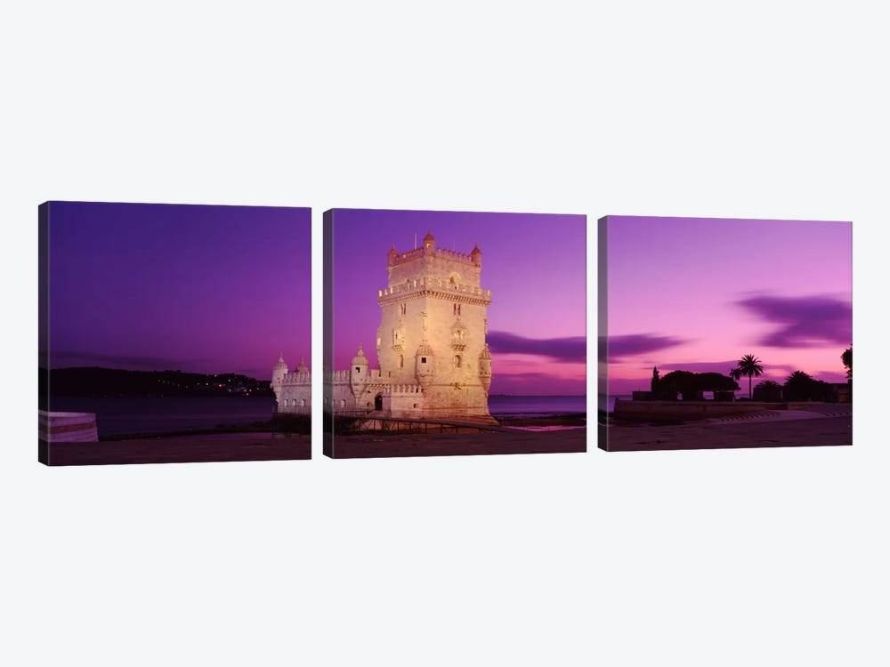 An Illuminated Belem Tower (Tower Of St. Vincent) At Night, Santa Maria de Belem, Lisbon, Portugal by Panoramic Images 3-piece Canvas Print