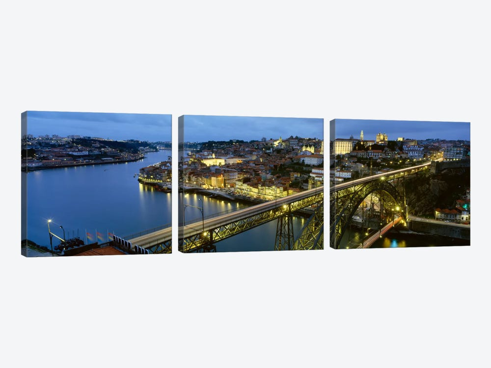 Dom Luis I Bridge At Night, Porto, Portugal by Panoramic Images 3-piece Canvas Artwork