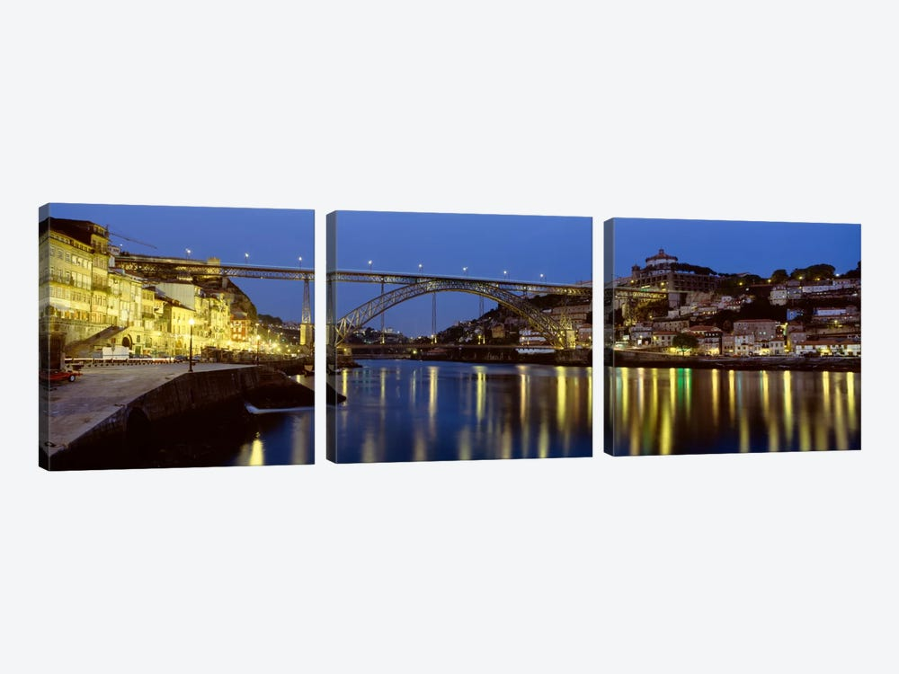 Dom Luis I Bridge At Night, Porto, Portugal by Panoramic Images 3-piece Canvas Print