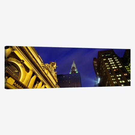 Low-Angle View Of Clock And Glory Of Commerce Sculpture, Grand Central Station , New York City, New York, USA Canvas Print #PIM1889} by Panoramic Images Art Print