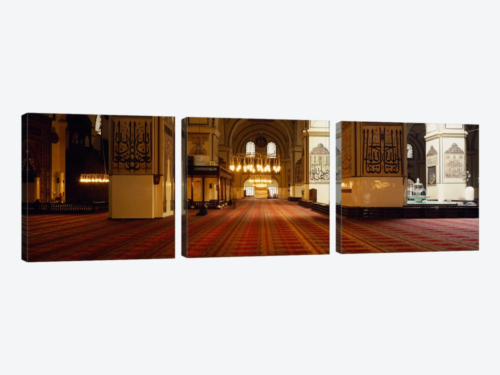 Interiors of a mosque, Ulu Camii, Bursa, Bursa Province, Turkey by Panoramic Images 3-piece Canvas Wall Art