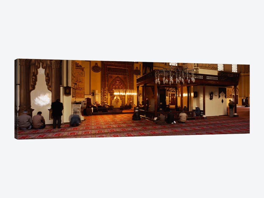 Group of people praying in a mosque, Ulu Camii, Bursa, Turkey by Panoramic Images 1-piece Canvas Print