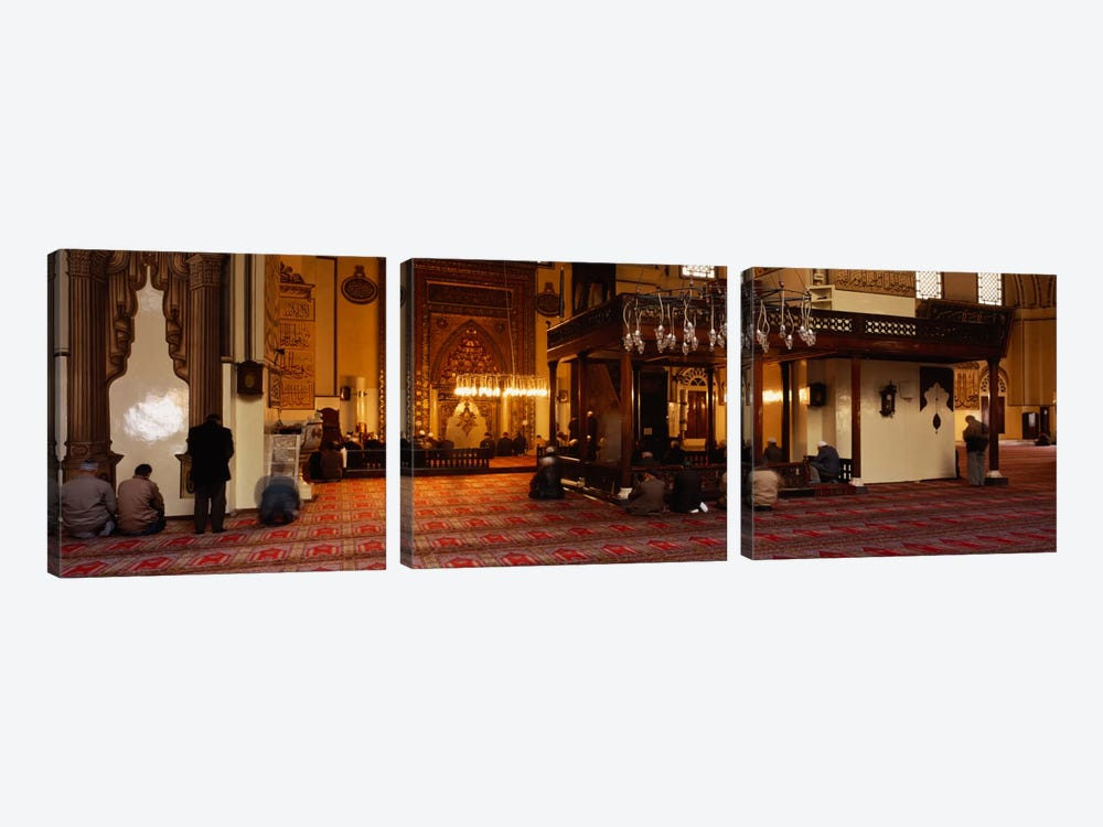 Group of people praying in a mosque, Ulu Camii, Bursa, Turkey by Panoramic Images 3-piece Art Print