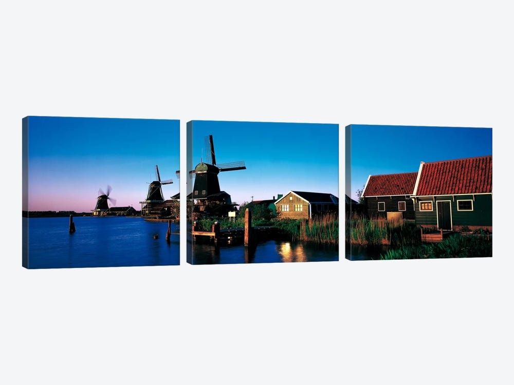 Windmills Zaanstreek Netherlands 3-piece Canvas Art Print