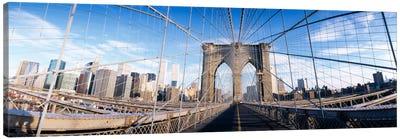 Railings of a bridge, Brooklyn Bridge, Manhattan, New York City, New York State, USA, (pre Sept. 11, 2001) Canvas Print #PIM1894