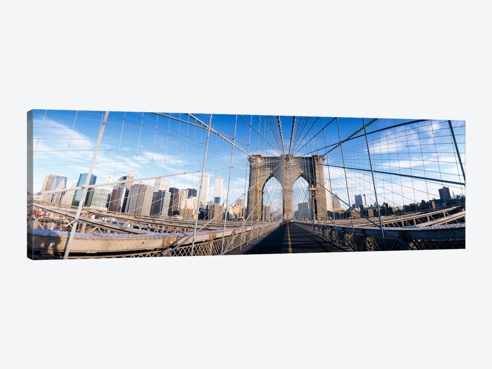 Railings of a bridge, Brooklyn Bridge, Manhattan, New York City, New York State, USA, (pre Sept. 11, 2001) by Panoramic Images 1-piece Canvas Artwork
