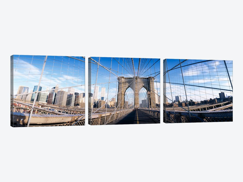 Railings of a bridge, Brooklyn Bridge, Manhattan, New York City, New York State, USA, (pre Sept. 11, 2001) by Panoramic Images 3-piece Canvas Art