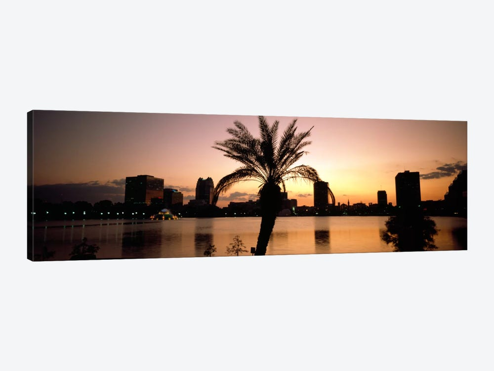 Silhouette of buildings at the waterfront, Lake Eola, Summerlin Park, Orlando, Orange County, Florida, USA by Panoramic Images 1-piece Art Print