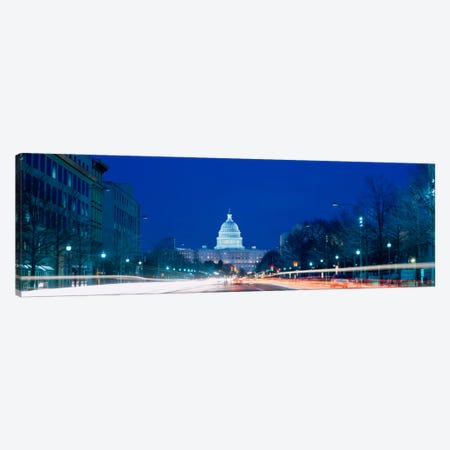 Government building lit up at dusk, Capitol Building, Pennsylvania Avenue, Washington DC, USA Canvas Print #PIM1897} by Panoramic Images Art Print