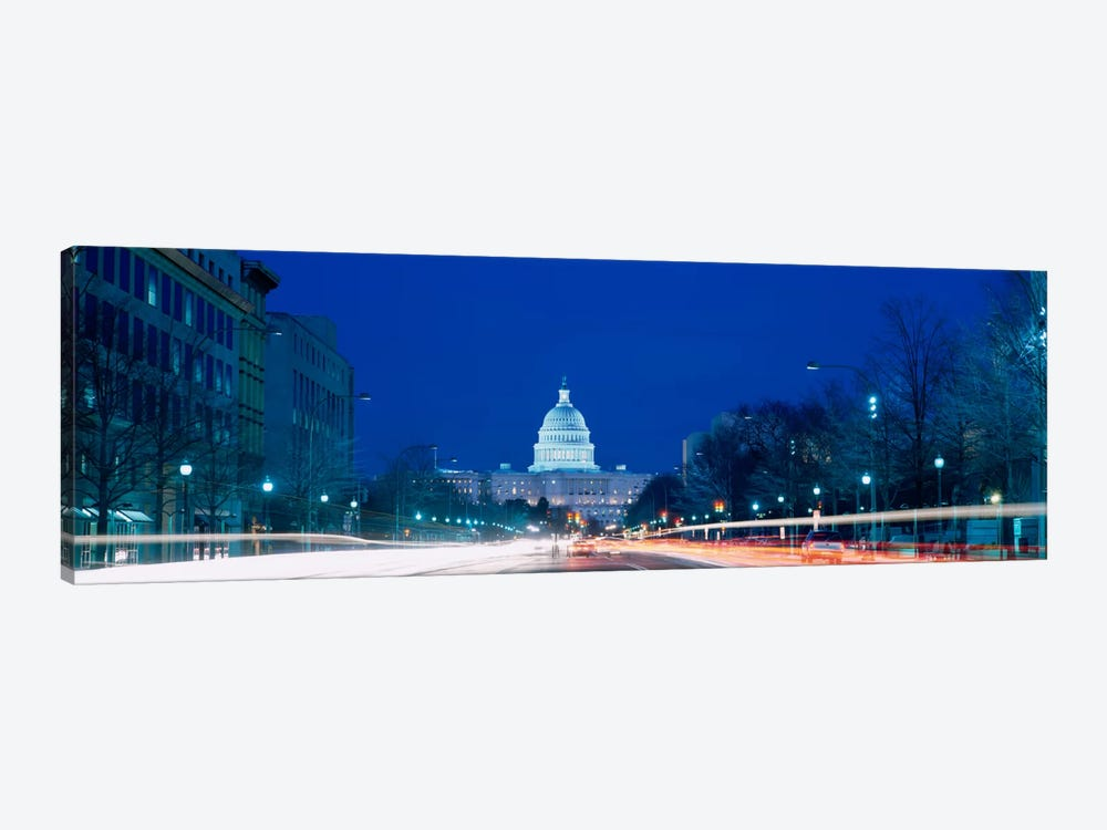 Government building lit up at dusk, Capitol Building, Pennsylvania Avenue, Washington DC, USA by Panoramic Images 1-piece Canvas Art Print