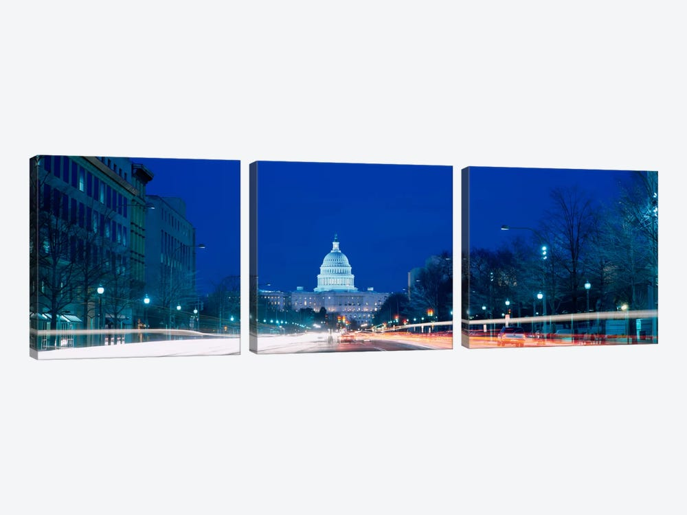 Government building lit up at dusk, Capitol Building, Pennsylvania Avenue, Washington DC, USA by Panoramic Images 3-piece Art Print