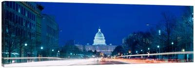 Government building lit up at dusk, Capitol Building, Pennsylvania Avenue, Washington DC, USA Canvas Art Print