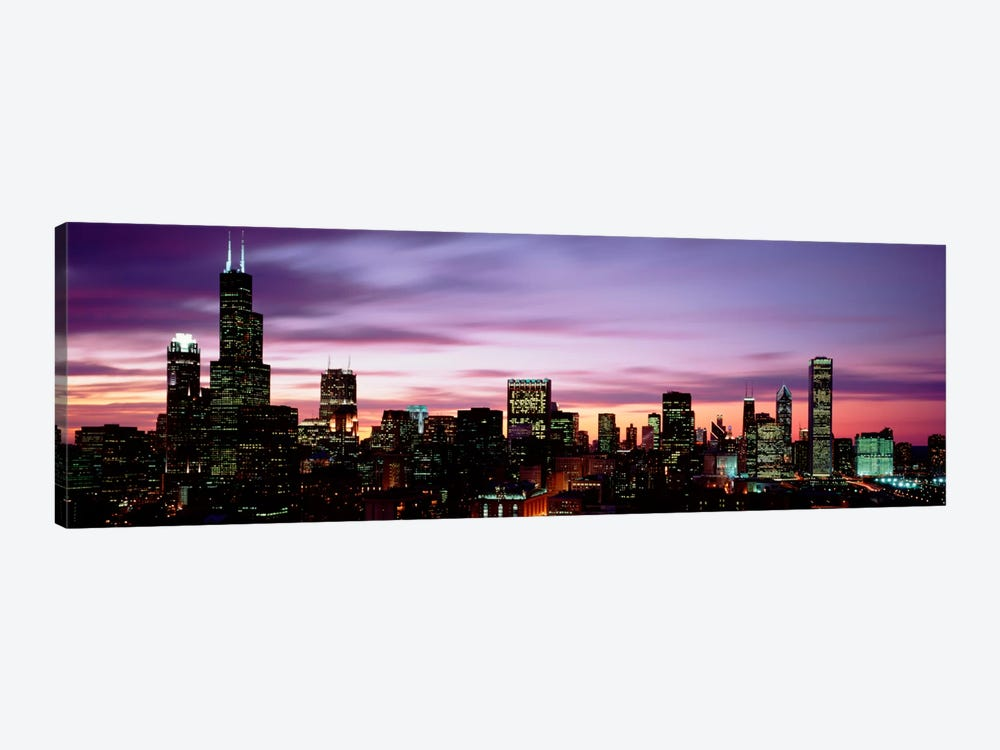 Skyscrapers At DuskChicago, Illinois, USA by Panoramic Images 1-piece Canvas Wall Art