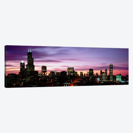 Skyscrapers At DuskChicago, Illinois, USA Canvas Print #PIM1898} by Panoramic Images Canvas Art