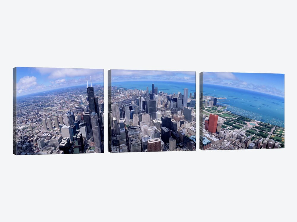 Aerial view of a city, Chicago, Illinois, USA by Panoramic Images 3-piece Art Print