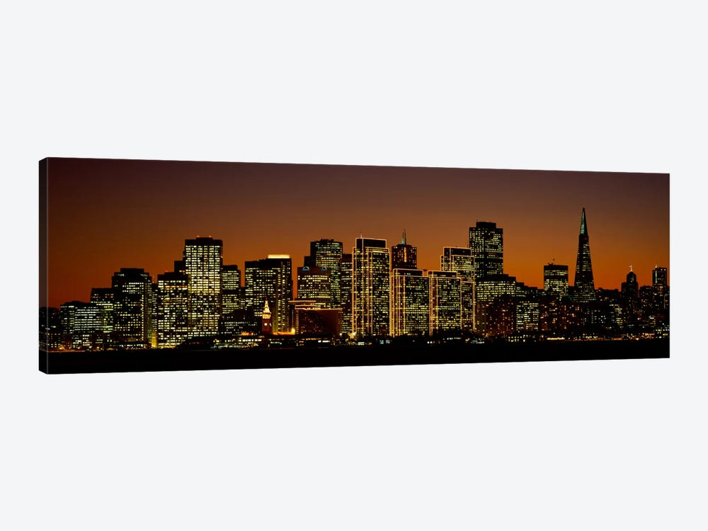 Skyscrapers lit up at nightSan Francisco, California, USA by Panoramic Images 1-piece Canvas Print