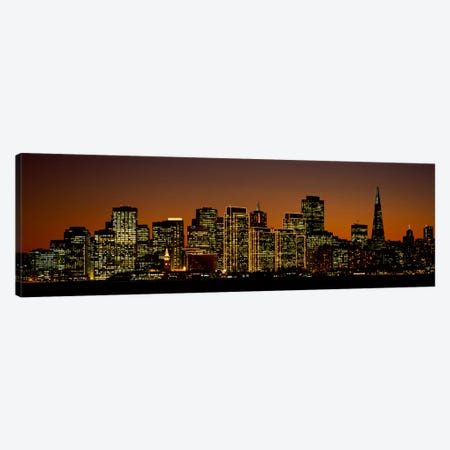 Skyscrapers lit up at nightSan Francisco, California, USA Canvas Print #PIM1903} by Panoramic Images Canvas Art
