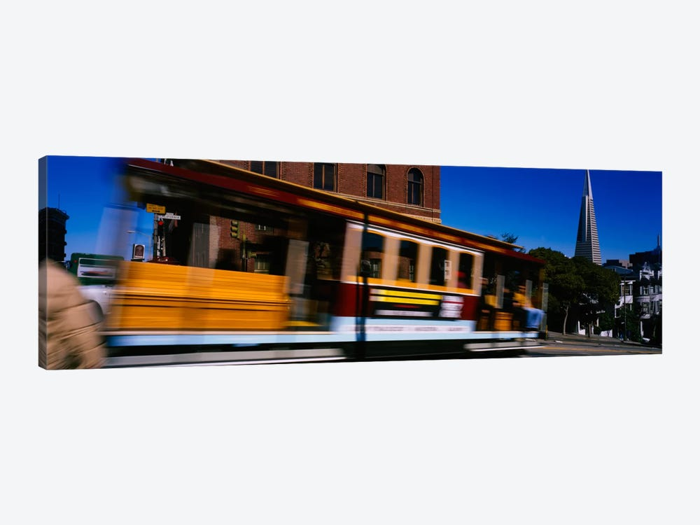 Cable car moving on a street, San Francisco, California, USA by Panoramic Images 1-piece Canvas Artwork