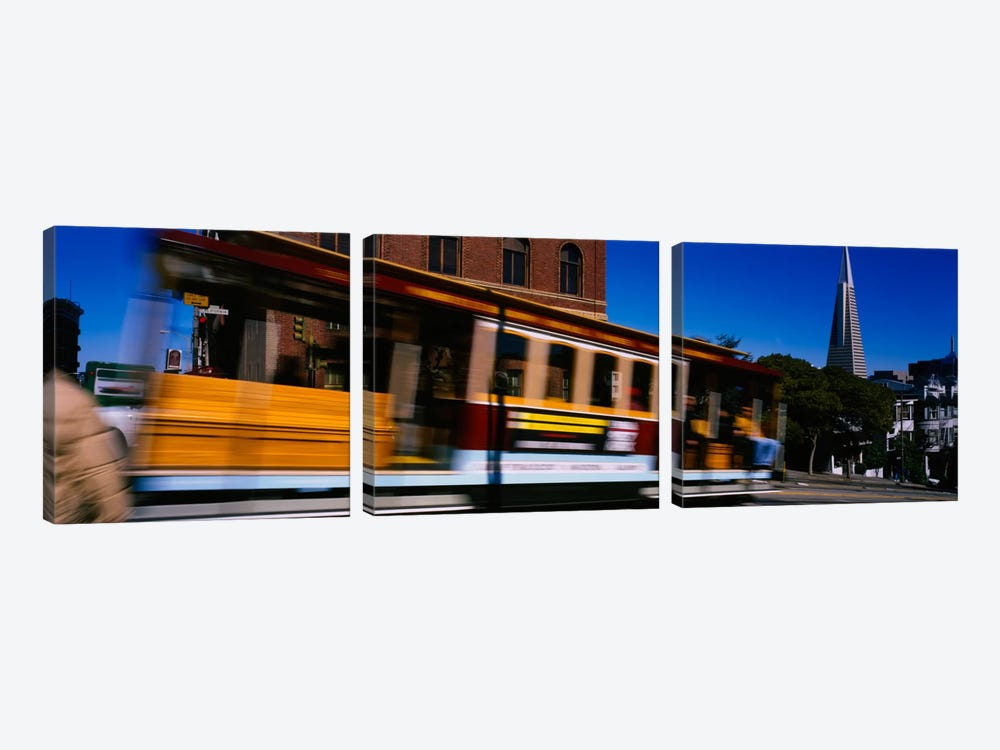 Cable car moving on a street, San Francisco, California, USA by Panoramic Images 3-piece Canvas Wall Art