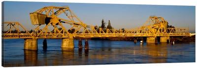 Drawbridge across a river, The Sacramento-San Joaquin River Delta, California, USA Canvas Art Print