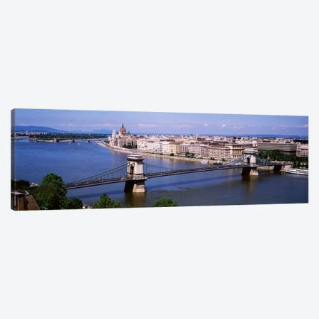 Szechenyi Chain Bridge With Lipotvaros In The Background, Budapest, Hungary 3-Piece Canvas #PIM1907} by Panoramic Images Canvas Print