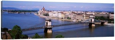 Szechenyi Chain Bridge With Lipotvaros In The Background, Budapest, Hungary Canvas Art Print