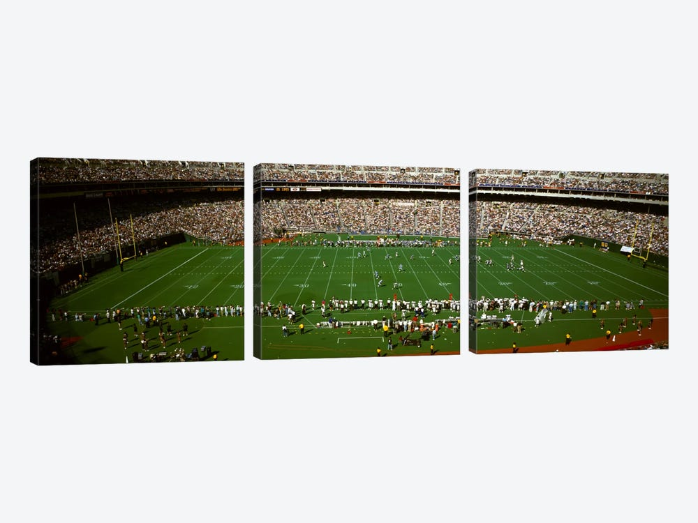 Spectator watching a football match, Veterans Stadium, Philadelphia, Pennsylvania, USA #3 by Panoramic Images 3-piece Canvas Print