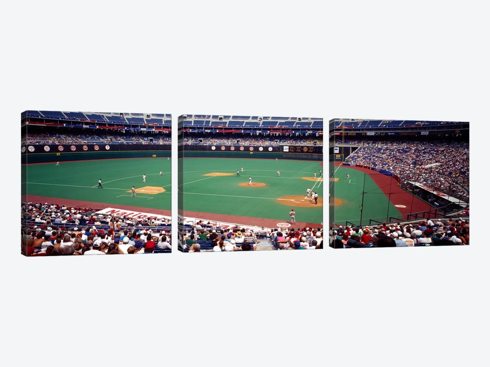 Spectator watching a baseball match, Veterans Stadium, Philadelphia, Pennsylvania, USA by Panoramic Images 3-piece Canvas Print