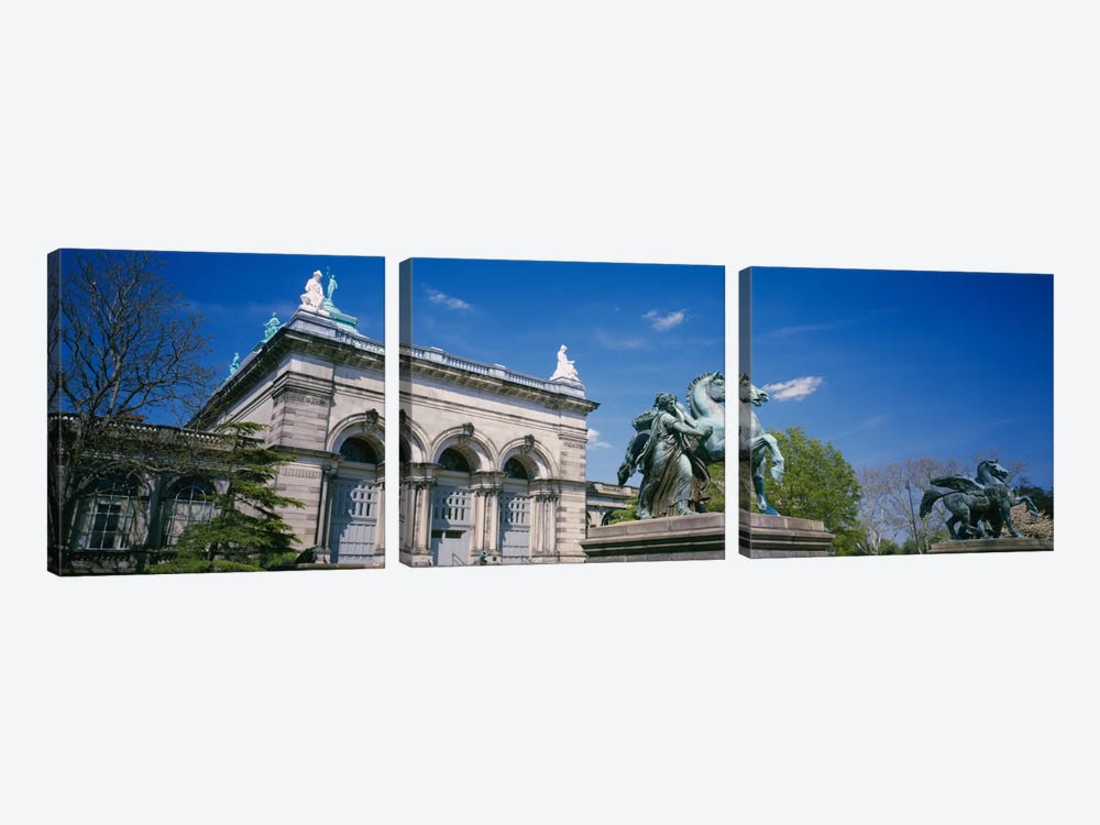 Low angle view of a statue in front of a building, Memorial Hall, Philadelphia, Pennsylvania, USA by Panoramic Images 3-piece Canvas Artwork