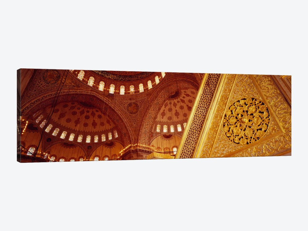 Low angle view of ceiling of a mosque with ionic tiles, Blue Mosque, Istanbul, Turkey by Panoramic Images 1-piece Canvas Print