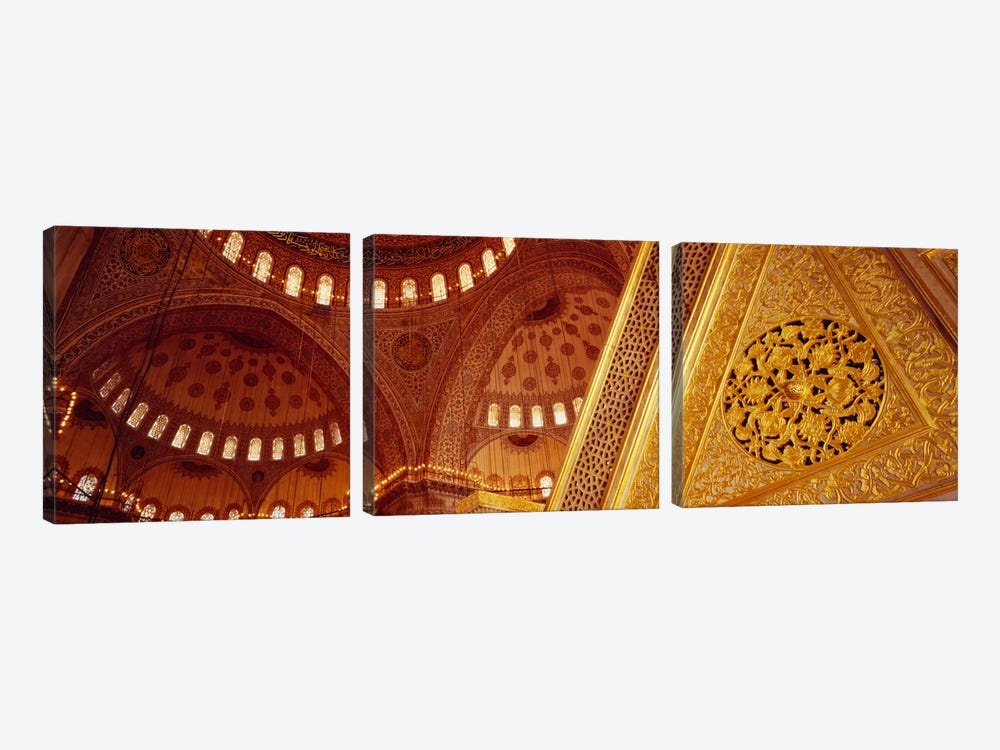 Low angle view of ceiling of a mosque with ionic tiles, Blue Mosque, Istanbul, Turkey by Panoramic Images 3-piece Canvas Print