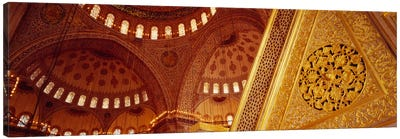 Low angle view of ceiling of a mosque with ionic tiles, Blue Mosque, Istanbul, Turkey Canvas Art Print