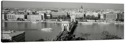 Chain Bridge Over The Danube River, Budapest, Hungary Canvas Print #PIM1924