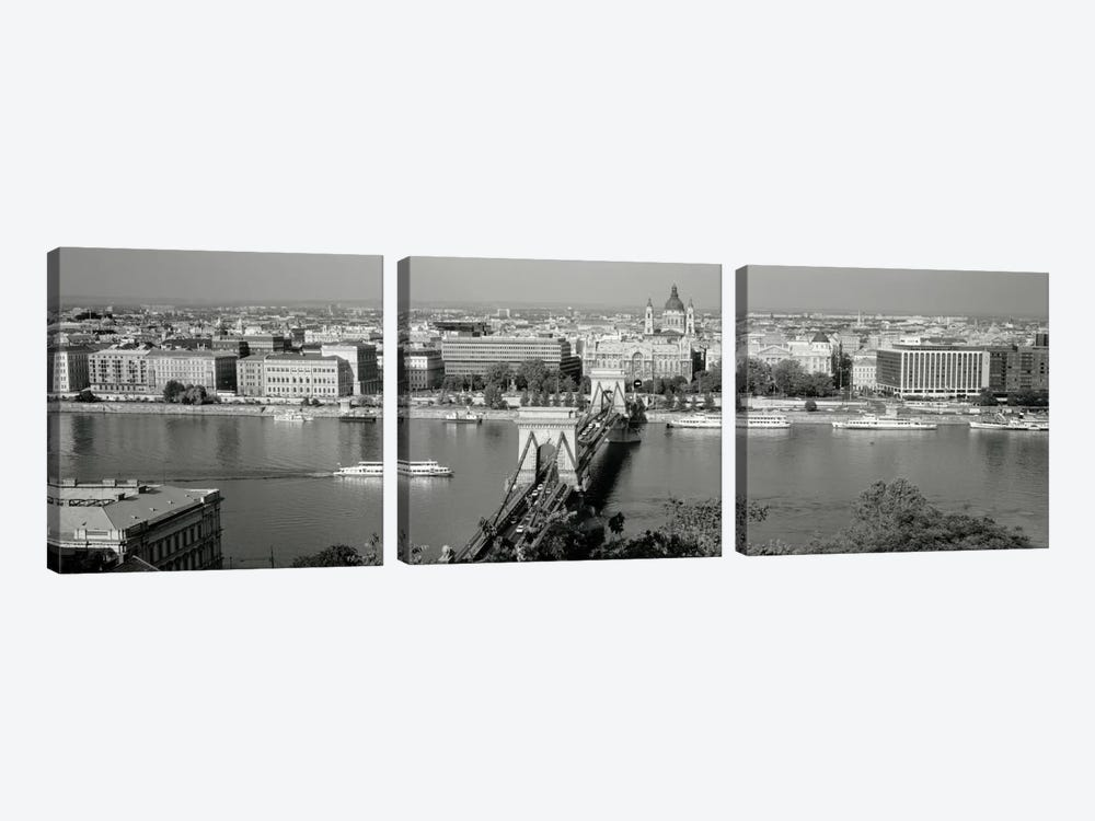 Chain Bridge Over The Danube River, Budapest, Hungary by Panoramic Images 3-piece Canvas Art