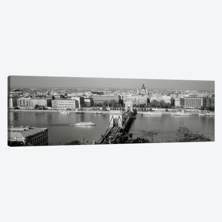 Chain Bridge Over The Danube River, Budapest, Hungary 3-Piece Canvas #PIM1924} by Panoramic Images Canvas Art Print