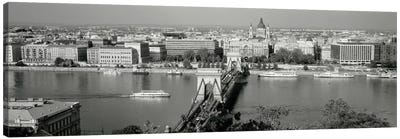 Chain Bridge Over The Danube River, Budapest, Hungary Canvas Art Print