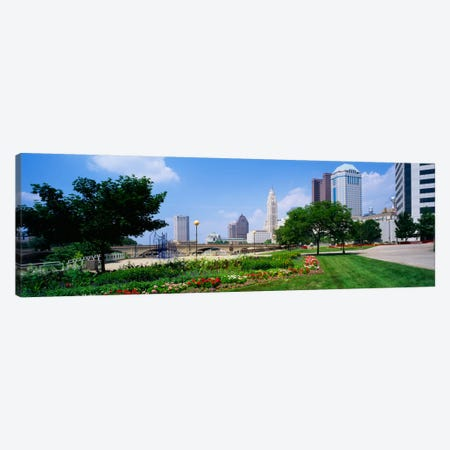 Garden in front of skyscrapers in a city, Scioto River, Columbus, Ohio, USA Canvas Print #PIM1927} by Panoramic Images Canvas Print