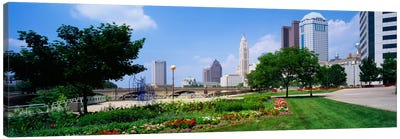 Garden in front of skyscrapers in a city, Scioto River, Columbus, Ohio, USA Canvas Art Print