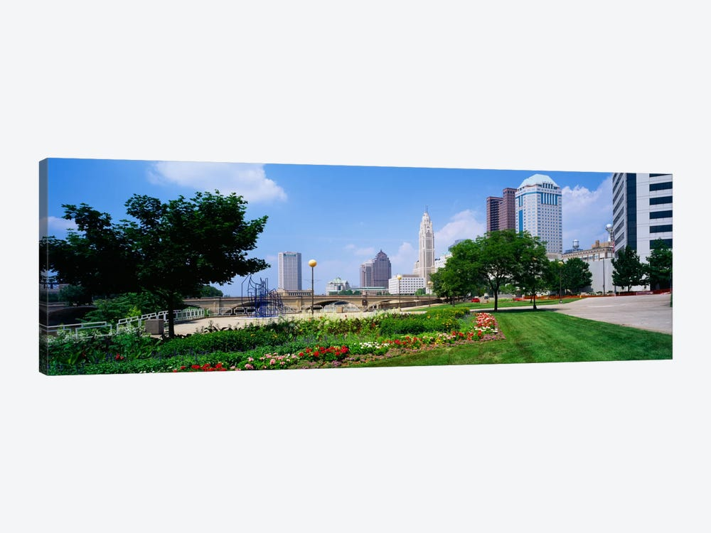 Garden in front of skyscrapers in a city, Scioto River, Columbus, Ohio, USA by Panoramic Images 1-piece Canvas Print
