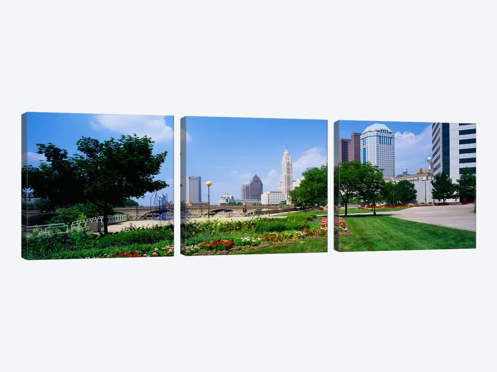 Garden in front of skyscrapers in a city, Scioto River, Columbus, Ohio, USA by Panoramic Images 3-piece Art Print