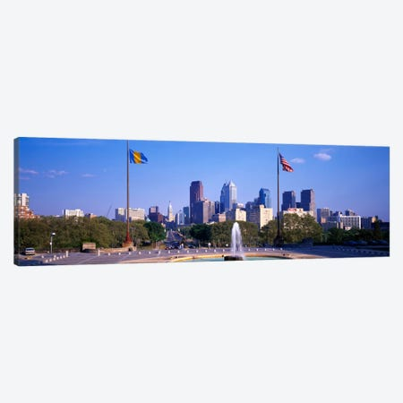 Fountain at art museum with city skyline, Philadelphia, Pennsylvania, USA Canvas Print #PIM1929} by Panoramic Images Canvas Artwork