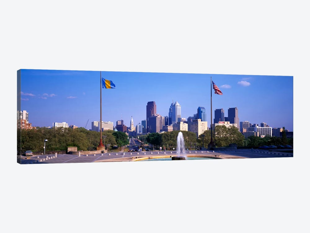 Fountain at art museum with city skyline, Philadelphia, Pennsylvania, USA 1-piece Canvas Print