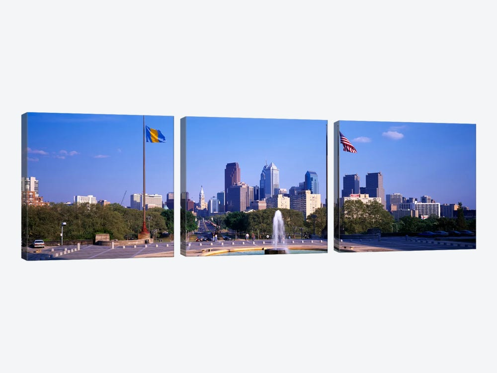 Fountain at art museum with city skyline, Philadelphia, Pennsylvania, USA 3-piece Canvas Art Print