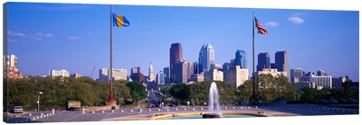 Fountain at art museum with city skyline, Philadelphia, Pennsylvania, USA Canvas Art Print