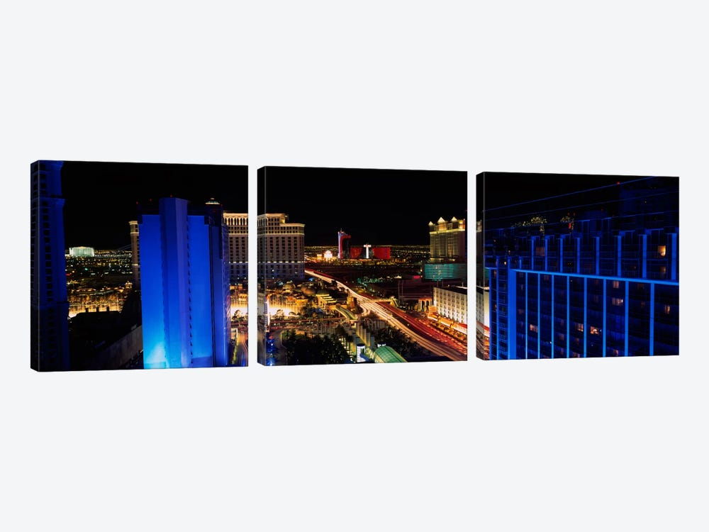 Buildings Lit Up At Night, Las Vegas, Nevada, USA by Panoramic Images 3-piece Canvas Art