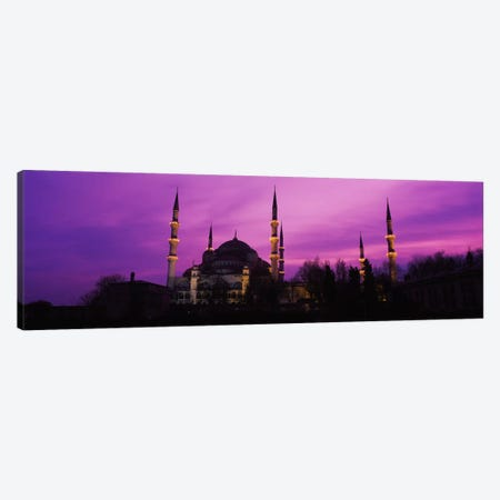 Mosque lit up at dusk, Blue Mosque, Istanbul, Turkey #2 Canvas Print #PIM1934} by Panoramic Images Canvas Art