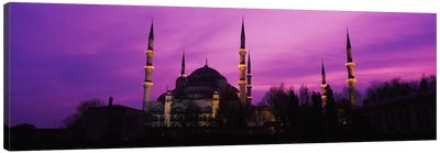 Mosque lit up at dusk, Blue Mosque, Istanbul, Turkey #2 Canvas Art Print