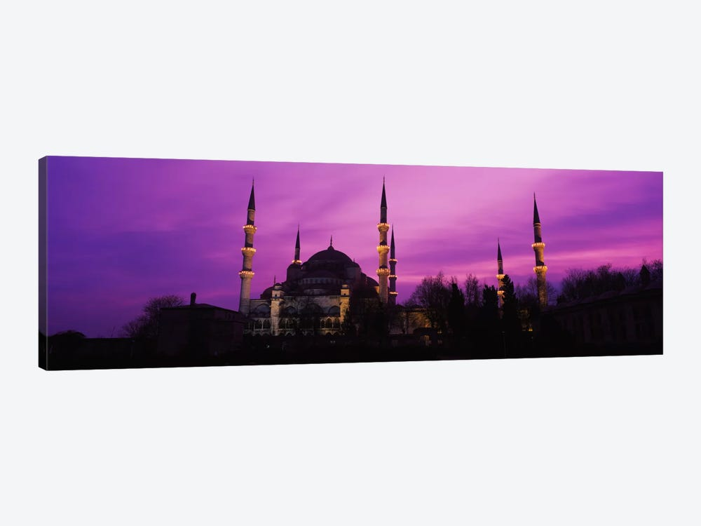 Mosque lit up at dusk, Blue Mosque, Istanbul, Turkey #2 by Panoramic Images 1-piece Canvas Print