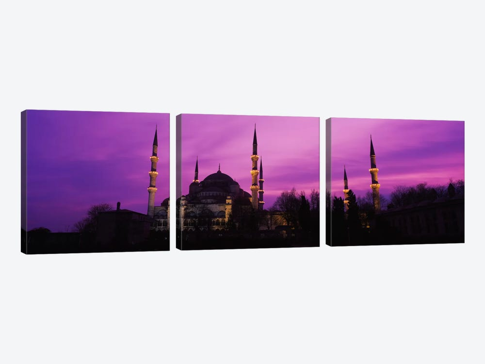 Mosque lit up at dusk, Blue Mosque, Istanbul, Turkey #2 3-piece Canvas Art Print