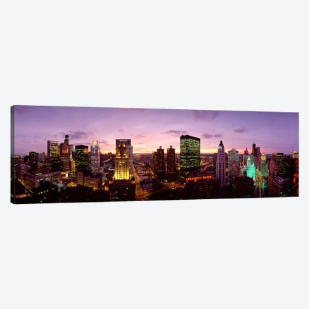 Skyscrapers In A City At Dusk, Chicago, Illinois, USA Canvas Print #PIM1937} by Panoramic Images Canvas Art